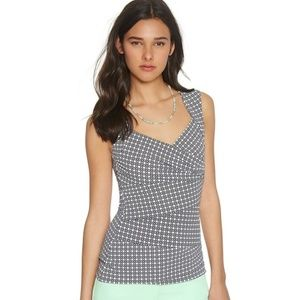 WHBM Sleeveless Seamed Printed Shell Top- Size M